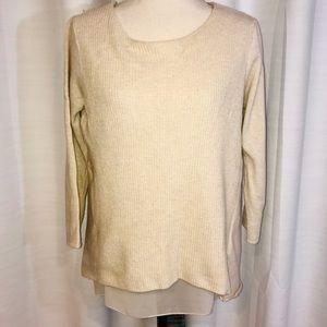 Zara Italian knit beige sweater sheer underlay